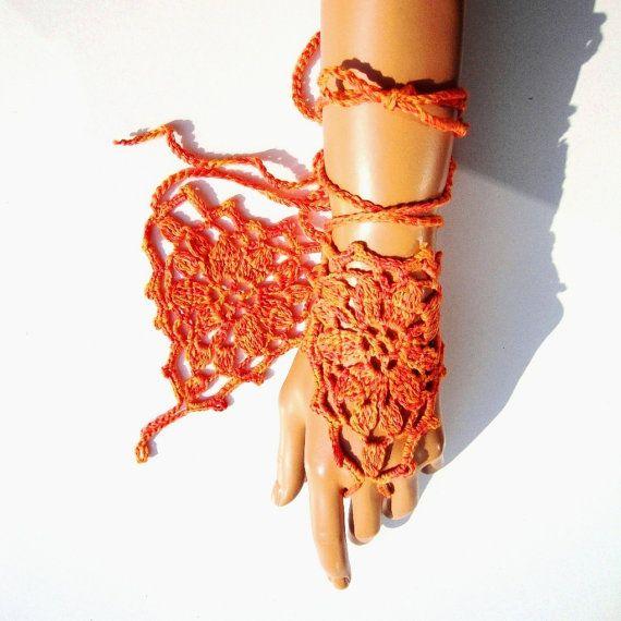 Hand Crochet Orange Coton Lace Gloves Fingerless Hand by Pasin, $18.00