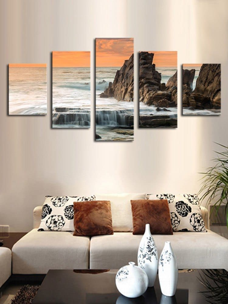 Seaside Stone Print Unframed Split Canvas Paintings Subjects Seascape Features Decorative Re Canvas Wall Art Living Room Dorm Room Canvas Sitting Room Decor