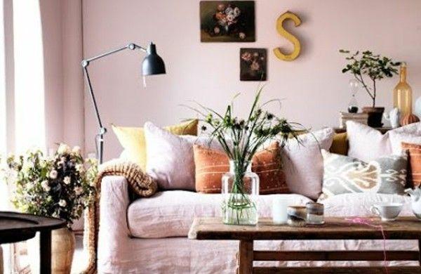 Wohnzimmer Altrosa ~ Wohnzimmer altrosa wandfarbe dekokissen wohnen
