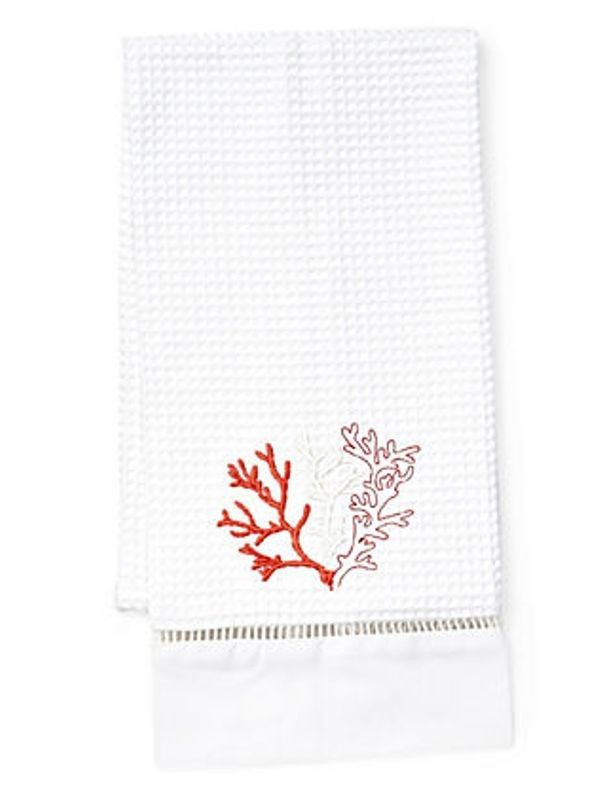Our Tenth Most Popular Selling Waffle Weave Guest Towel Design Is The Orange Coral Embroidery Design Towels Design Guest Towels Embroidered Gifts