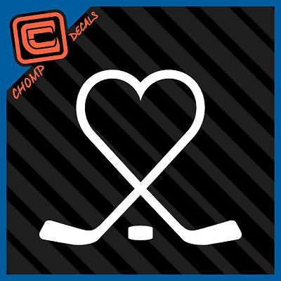 Hockey Sticks Heart Puck Love Play Ice Sports Car Decals Stickers Hockey Tattoo Hockey Decals Hockey Stick