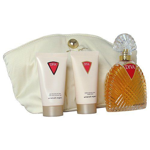 Diva by Emanuel Ungaro for Women. 3 Pc. Gift Set by Emanuel Ungaro. $51.50. We offer many great sales and discounts making this fragrance cheaper than at department stores.. All our fragrances are 100% originals by their original designers. We do not sell any knockoffs or immitations.. Diva Perfume for Women 3 Pc. Gift Set ( Eau De Parfum Spray 3.4 Oz + Body Lotion 1.7 Oz + Bath & Shower Gel 1.7 Oz). 3 Pc. Gift Set ( Eau De Parfum Spray 3.4 Oz + Body Lotion 1.7 Oz + B...