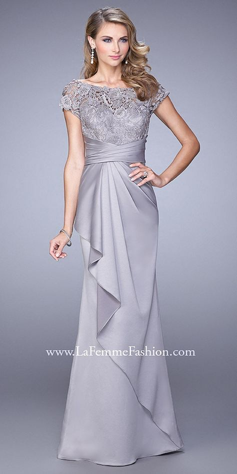 Gathered Rosette Lace Evening Dresses By La Femme