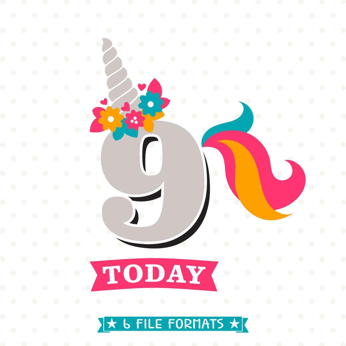 9th birthday svg unicorn birthday iron on file 9th birthday shirt