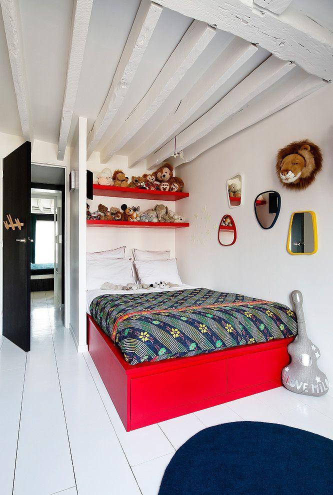 Duplex in Paris by Sarah Lavoine - Box bed matching the shelves   via Decor Demon