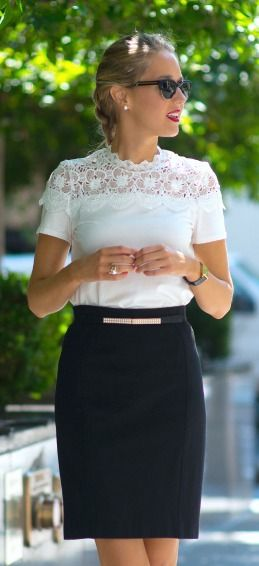 white lace short sleeve top, black pencil skirt + pearl accents