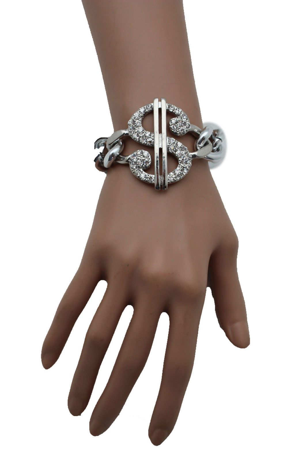 Women silver gold bracelet metal thick chain fashion jewelry dollar