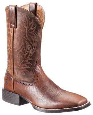 4e74800586c Ariat Sport Western Wide Square Toe Western Boots for Men - Fiddle  Brown Powder Brown - 8.5 M