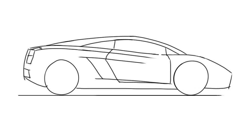 How To Draw A Car For Kids Lamborghini Gallardo Side View Rohit