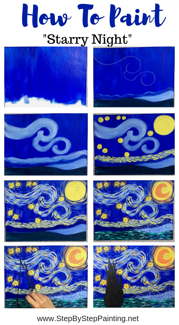How To Paint Starry Night Starry Night Painting Night Painting Mini Canvas Art