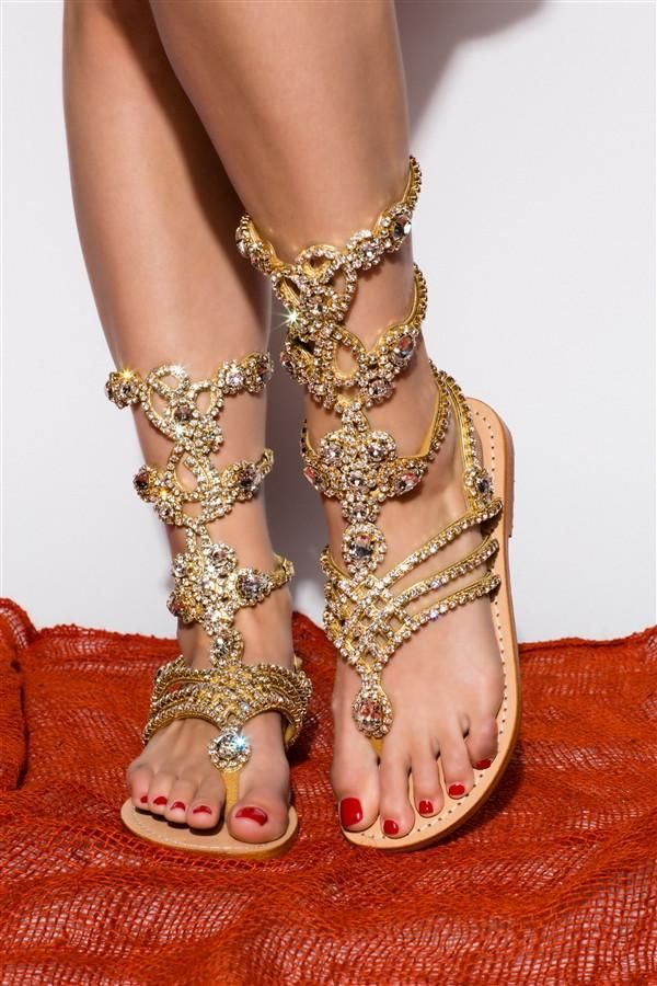 2c51f67fd3a South Beach- Women s Gold Jeweled Gladiator Sandals