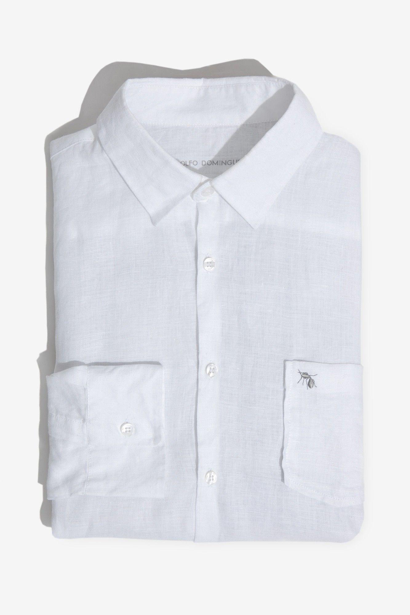 a7d956258c Camisa regular fit de lino blanco