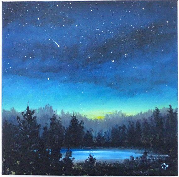 Night Sky With Stars Landscape Painting 12x12 Square By Pastelpond Night Sky Painting Watercolor Night Sky Sky Painting