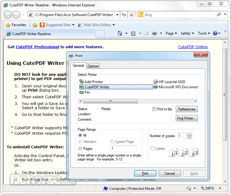 CutePDF Product CutePDF Writer