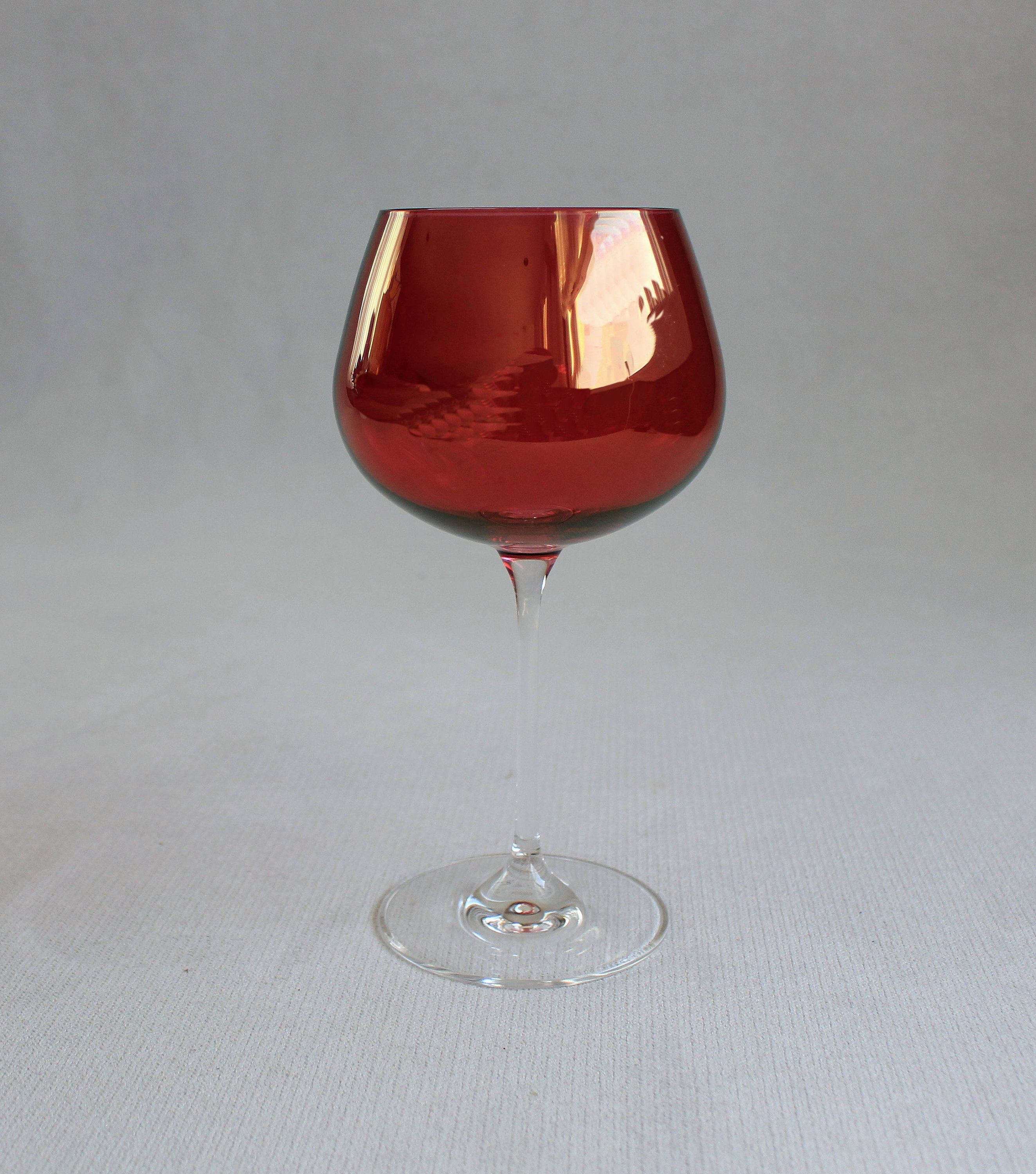 Ruby Red Wine Crystal Glass Anniversary Gift Vintage Ruby Red Dishes Elegant Glass Crystal Glass Candle Holder Wine Crystal Anniversary Glass Red Dishes