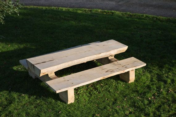 Green Oak table/bench for in or outdoors by JGElemental on Etsy