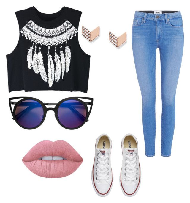"""""""Cool😍"""" by camairani ❤ liked on Polyvore featuring WithChic, Paige Denim, FOSSIL, Converse and Lime Crime"""