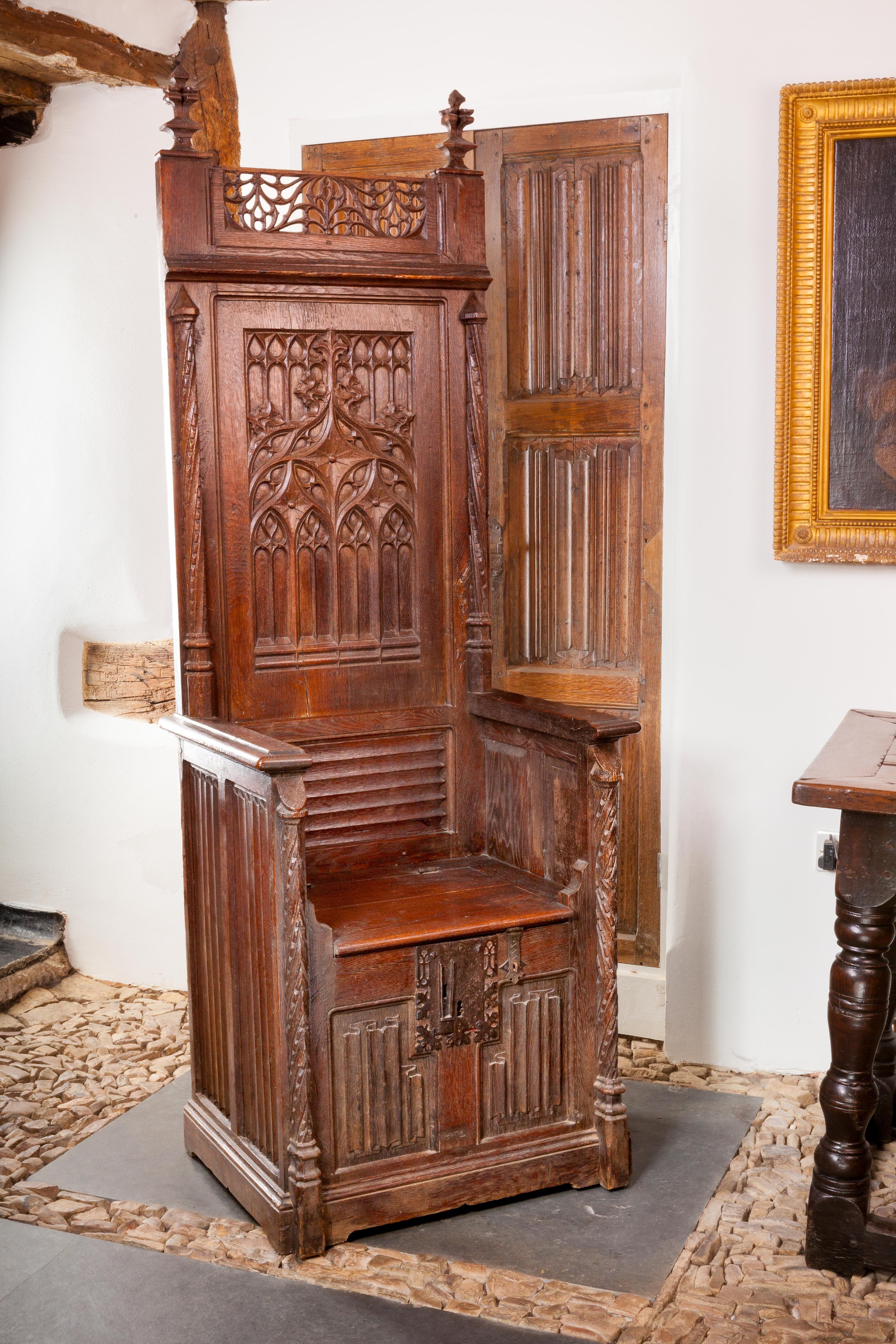 Gothic throne chair, circa 1460 - 1480, Marhamchurch ...