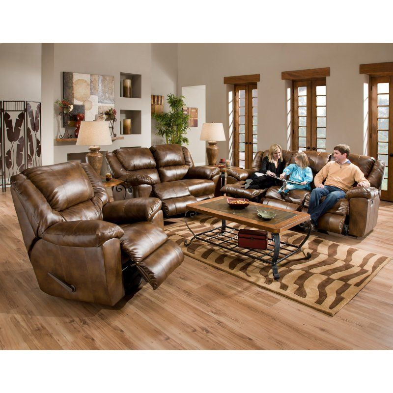 Catnapper Transformer Leather Reclining Sofa Set   Toast   CAT306