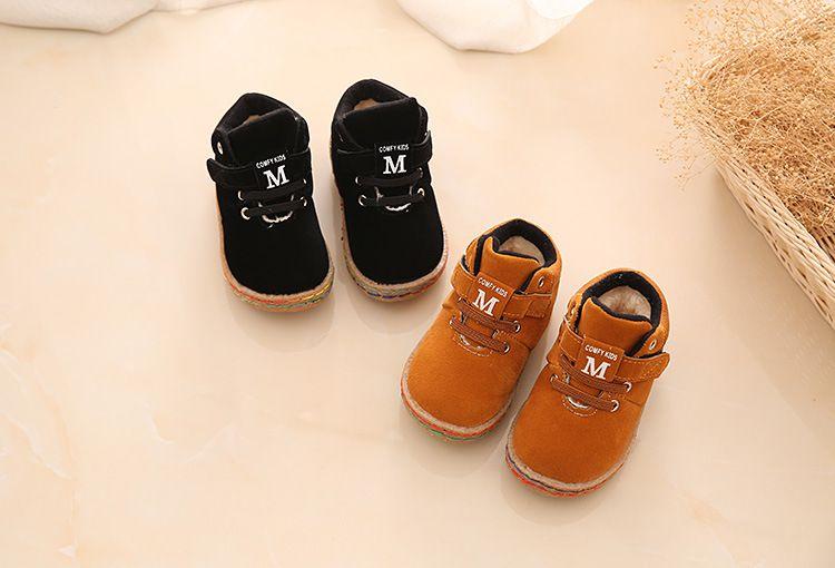 69722fd04 Botas de algodão do bebê De inverno De Couro PU Primeiros Caminhantes Tênis  Esportes Sapatos de Bebê das meninas Dos Meninos Da Criança Do Bebê de sola  dura ...