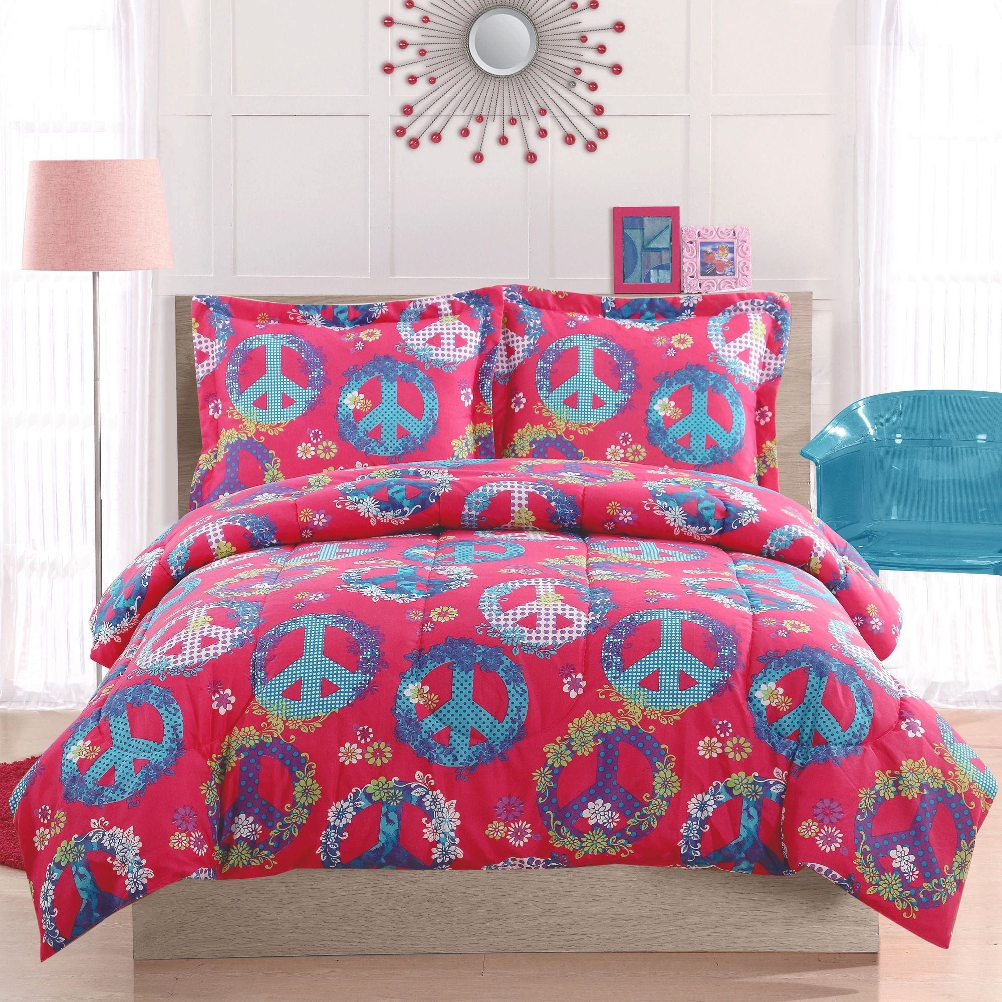 Genial Cosmo Girl Peace Sign Pink Comforter Set|Teen Girls Peace Sign  Bedding|Little Girls