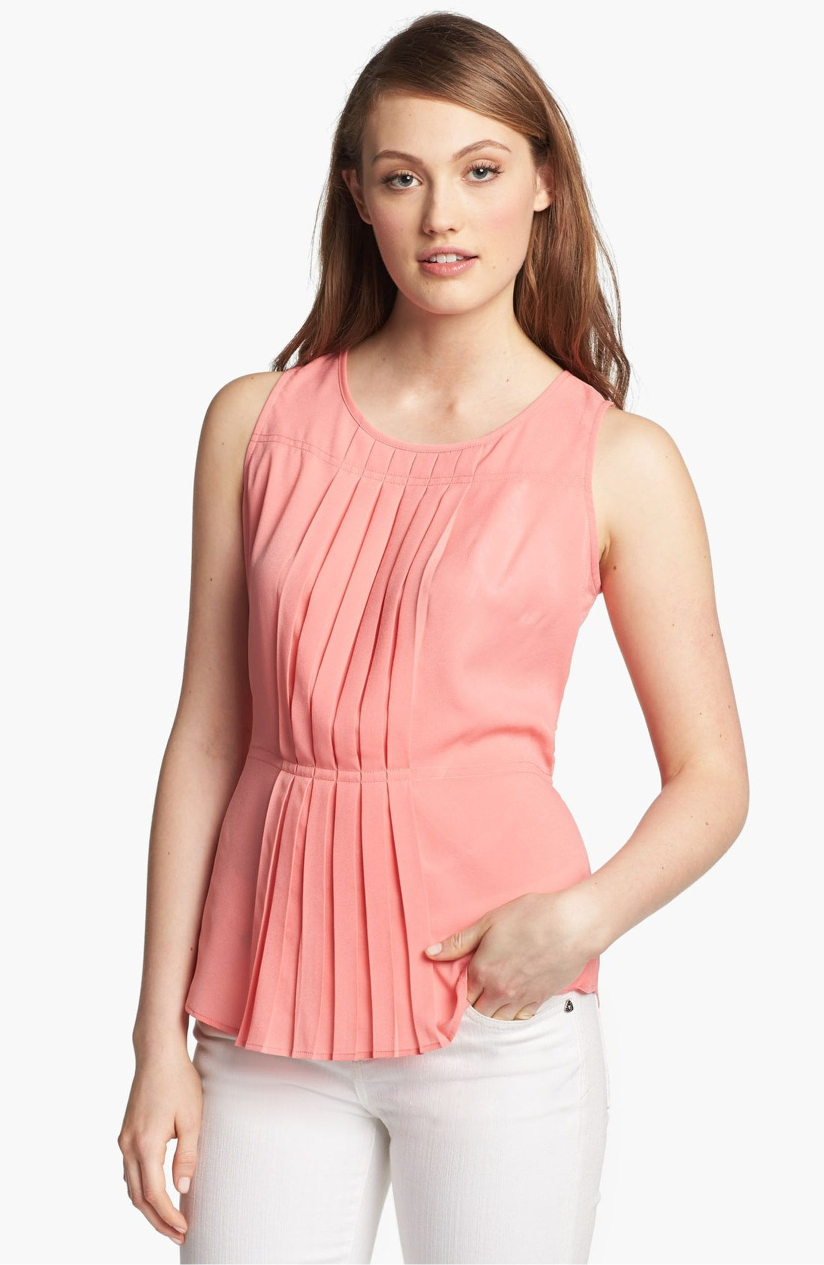 Pleat Front Top, Main, Color, Blushing Coral