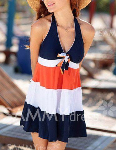 Cute Women's Halterneck Bowtie Embellished Color Block Swimwear (AS THE PICTURE,M) | Sammydress.com