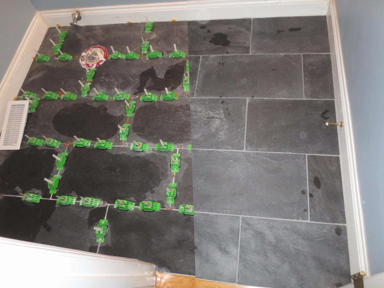Installing large format ungauged slate tile with mlt leveling installing large format ungauged slate tile with mlt leveling system doublecrazyfo Choice Image
