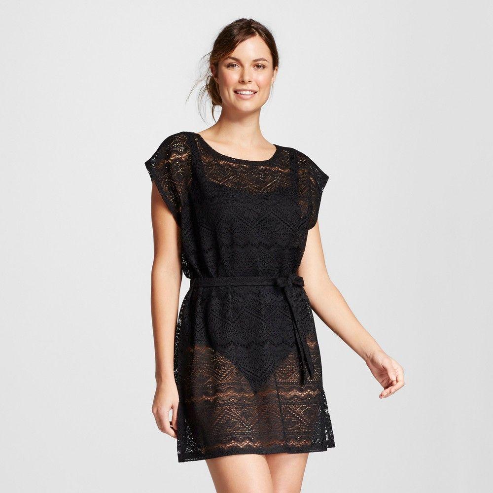 5b48b00590 Women s Belted Crochet Dolman Swim Cover Up Dress - Black S - Merona ...