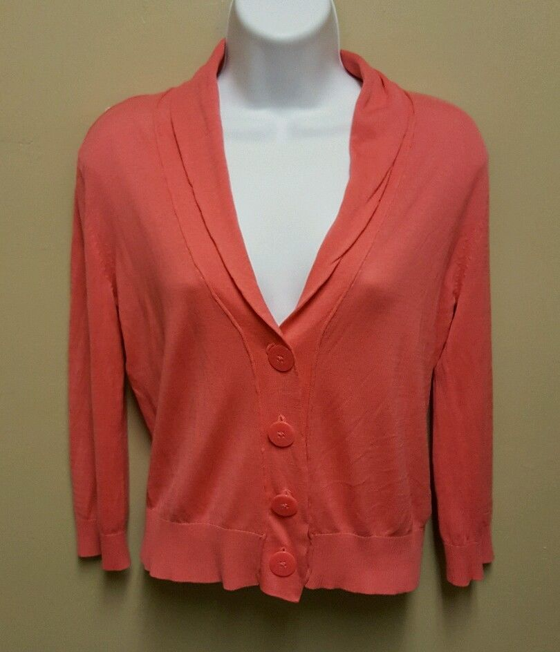 Merona MEDIUM pink silk cotton cardigan sweater lightweight 3/4 ...