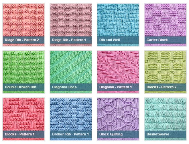 Knitting Patterns With Picture Instructions : List of free stitch patterns using only knit and purl ...