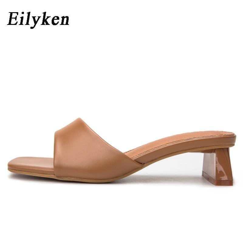 Eilyken Summer Women Slippers Slides Open Toe Low High heels Shoes Sandal Female Leisure Beach Green White Flip Flops size 41 42 – Brown / 35