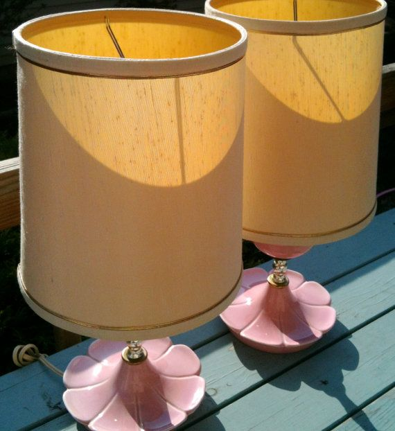 Vintage Pink Flower Lamps by bigyellowvintage on Etsy