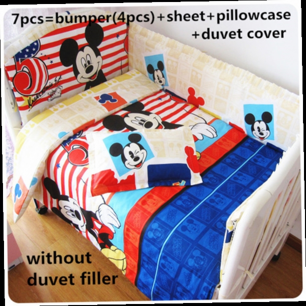 42.80$  Watch here - http://alii2f.worldwells.pw/go.php?t=32424851139 - Promotion! 6/7PCS Mickey Mouse cot bedding set, cute pattern,100% cotton baby bedding sets , 120*60/120*70cm 42.80$