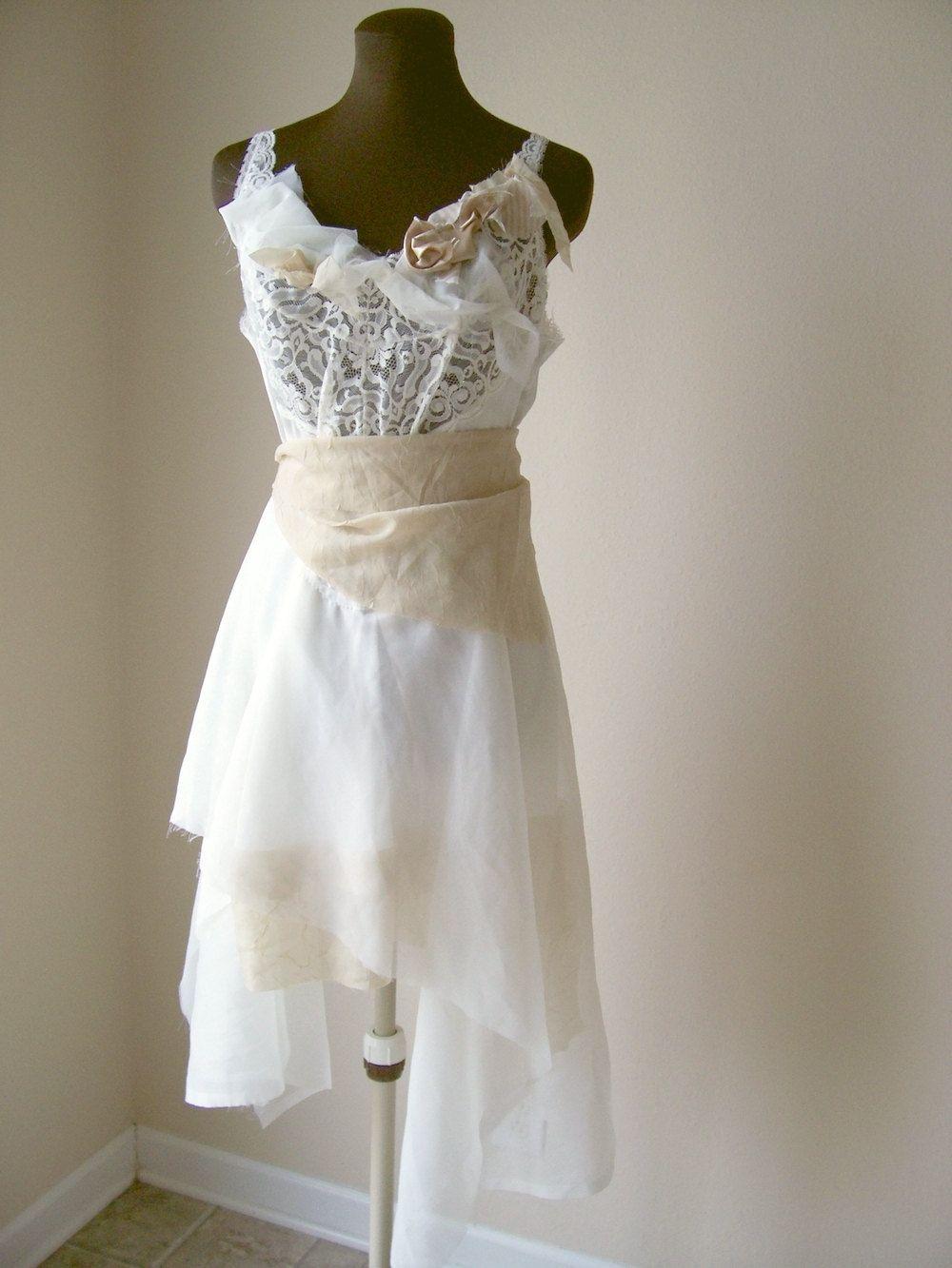 Ethereal ballet pixie wedding dress boho wispy faerie for Wedding dresses shabby chic