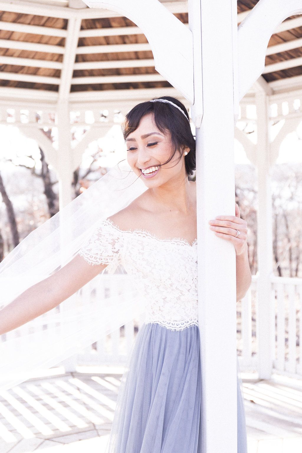 Zenia lace bridal top by love tanya paired with leighton tulle