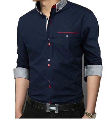 2014 New Fashion Personality Buttons Men's Dress Shirt High ...