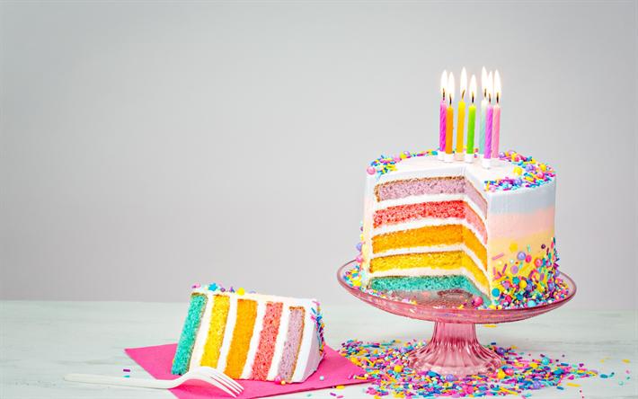 Download Wallpapers Birthday Cake Candles Happy Birthday Rainbow Cake Sweets Dessert Cakes Besthqwallpapers Com Pasteles De Cumpleanos De Arco Iris Tortas De Goteo Sabores De Pasteles