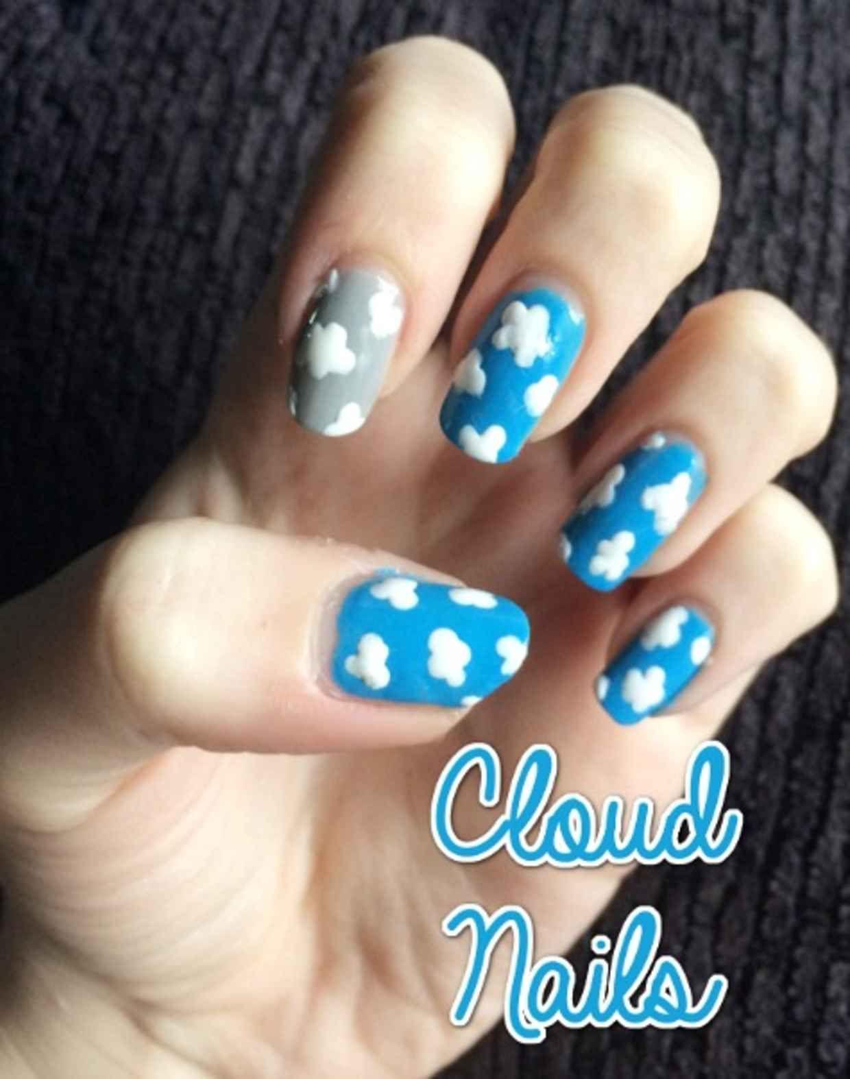 Nail Art Tutorial Cloud Nails Pinterest Cloud Art tutorials