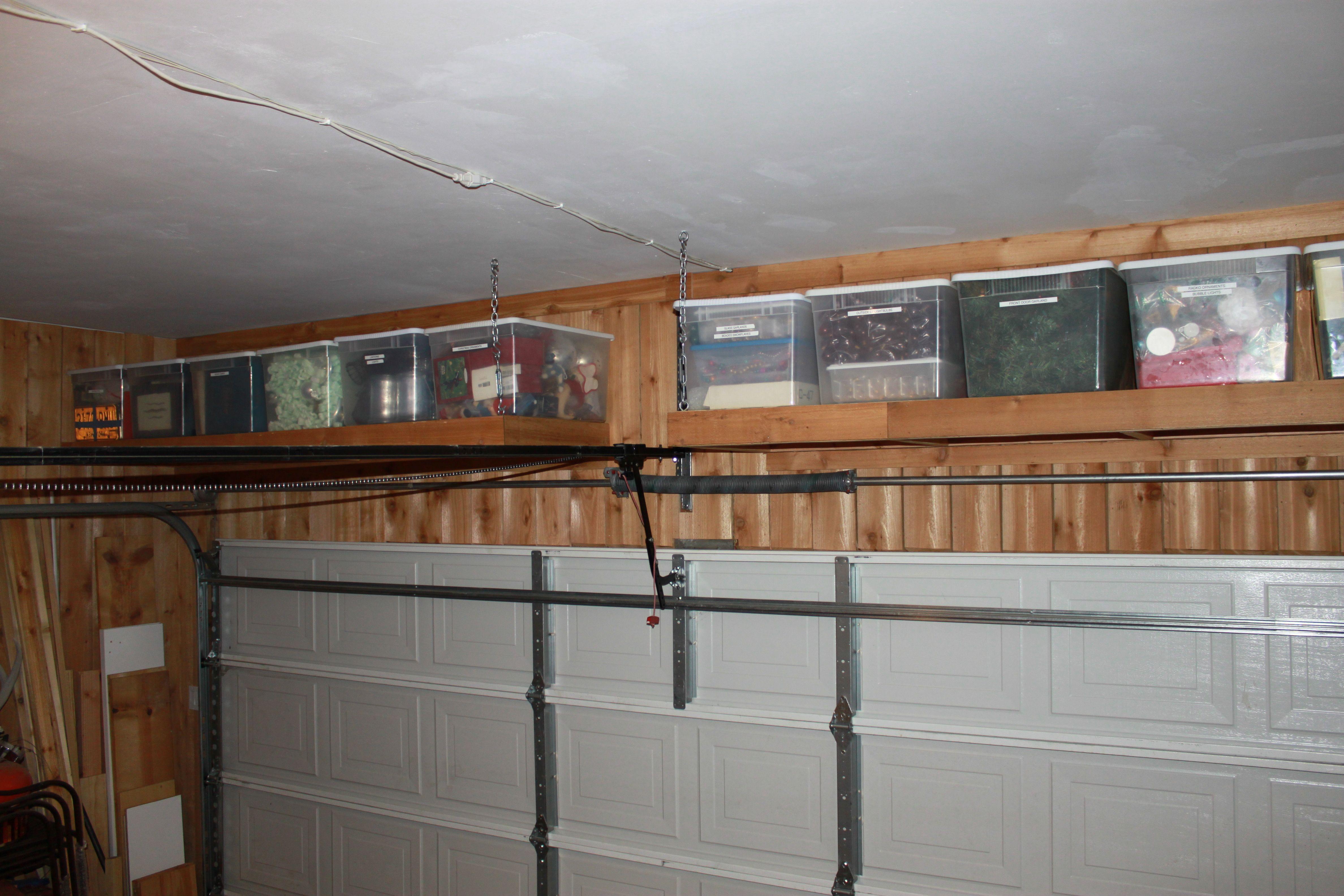 Shelves Over the Garage Door Garage wall shelving, Diy