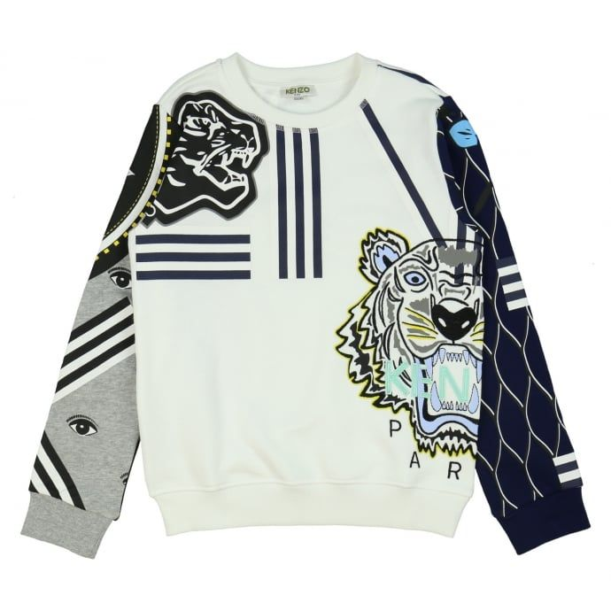 016c486ed7a Kenzo Kids Boys White Sweatshirt with Abstract Print - Kenzo Kids from  Chocolate Clothing UK