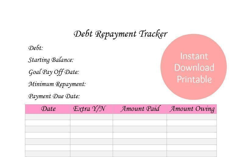 Debt Payment Tracker Printable PDF Instant Download Home Budget