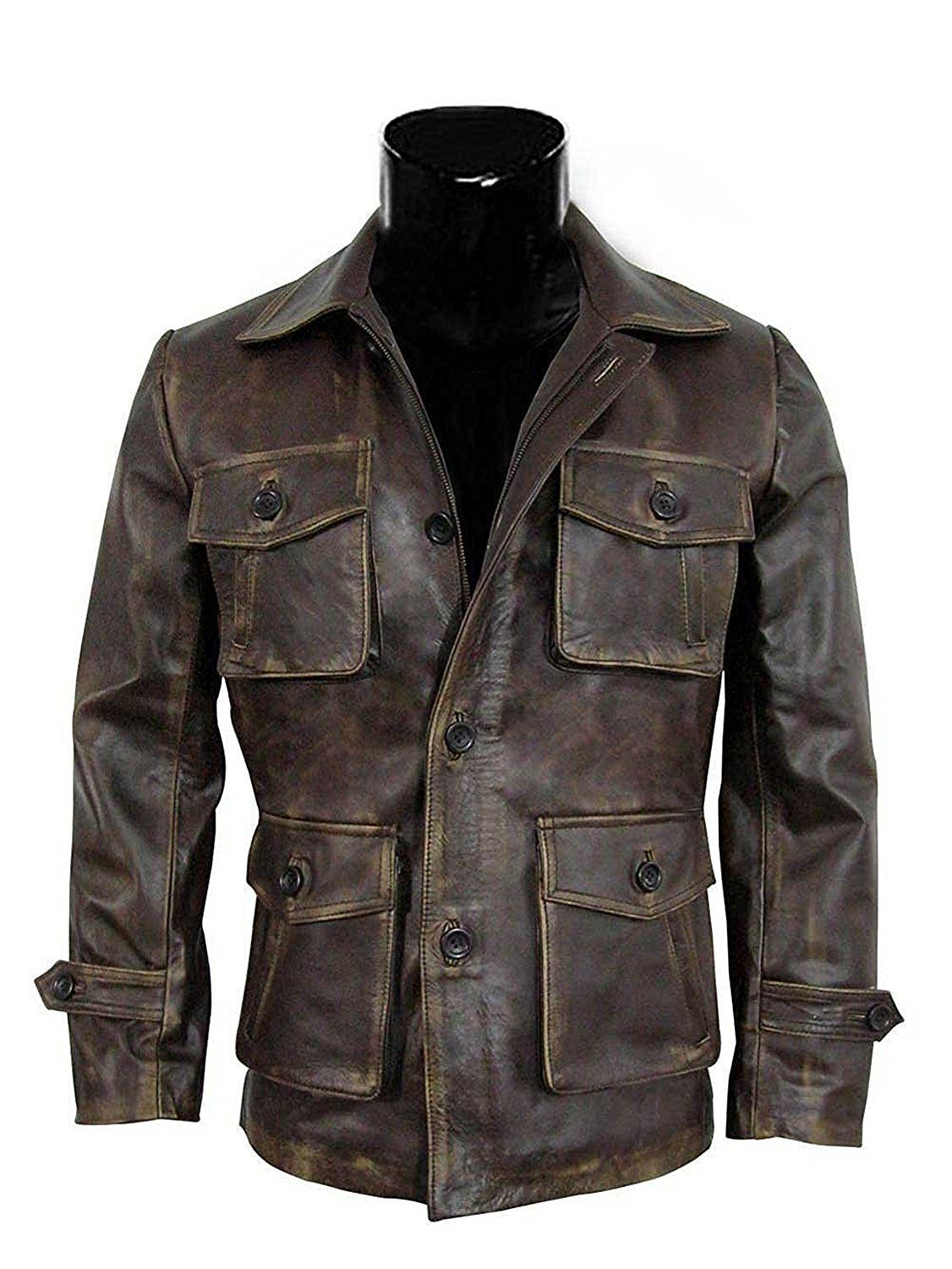 Brown Distressed Super 7 Real Leather Jacket