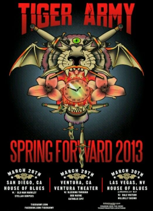 Tiger Army never dies!   Neck tattoo, Concert posters