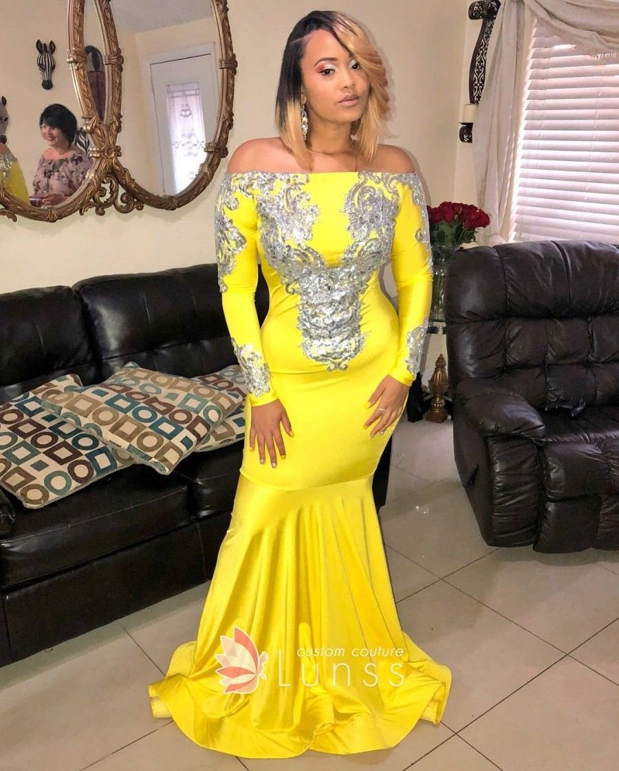 b547e306af98 Silver glitter appliqued yellow satin off the shoulder long sleeve prom  dress