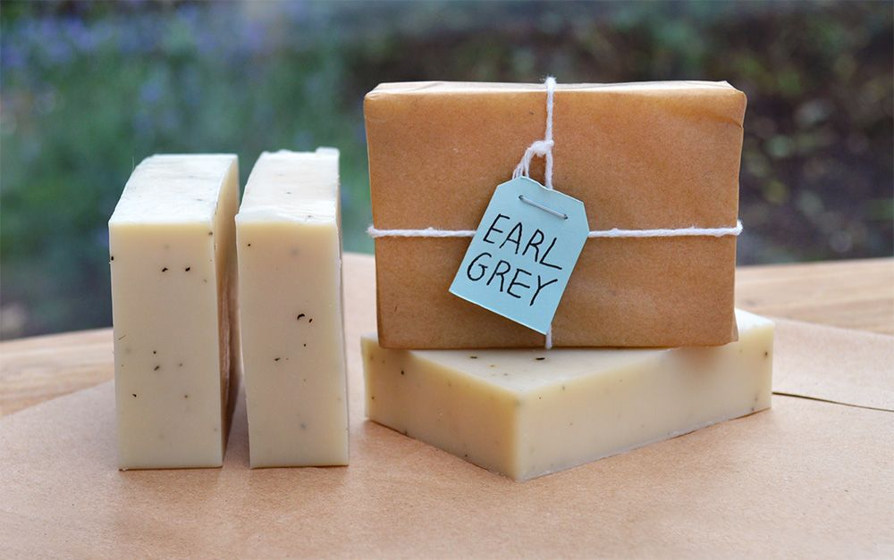 Recipe and instructions for making natural soap with uplifting citrus fragrance and flecks of Earl Grey tea