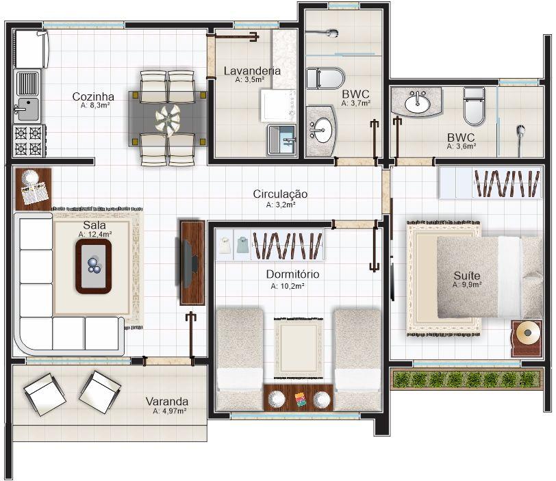 Amazing 5 Modelos De Plantas De Casas Com Suíte E área Total Até 70m²   Plantas De  Casas. Small Houses304Simple ...