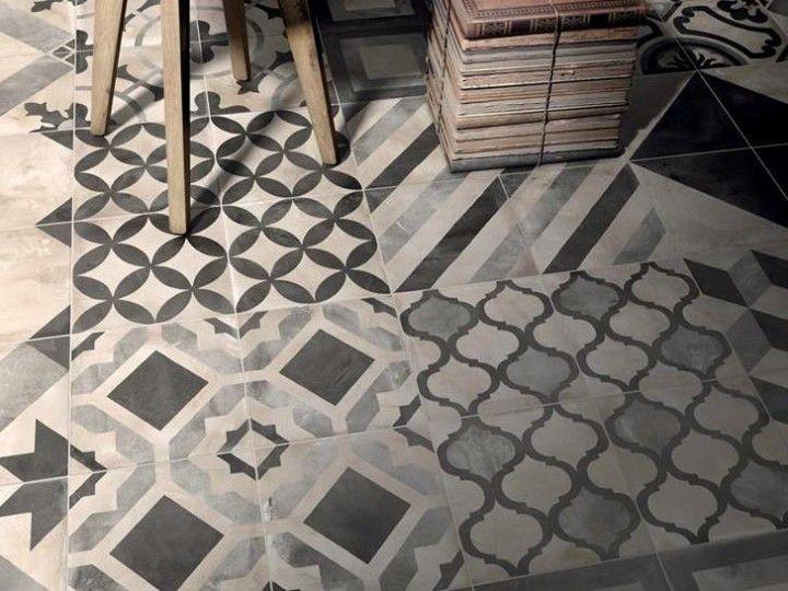 carrelage sol et mur inspir des carreaux de ciment en gr s c rame gris collection terra de. Black Bedroom Furniture Sets. Home Design Ideas