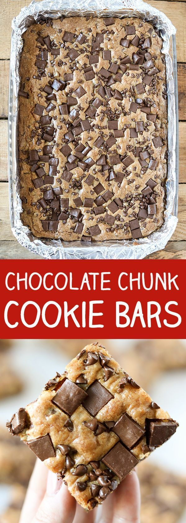 Chocolate Chunk Cookie Bars Recipe With Images Chocolate Chunk Cookies Chocolate Chip Cookie Bars Desserts