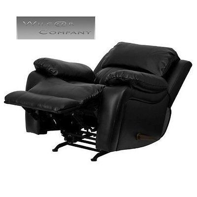 New Black Leather Rocker Recliner Lazy Boy Barcalounger Chair